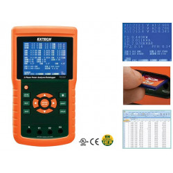 Extech PQ3450 3-Phase Power Analyzer / Datalogger with SD Card Datalogging