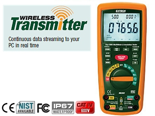 Extech CAT IV Insulation Tester / Multimeter Wireless PC Interfa